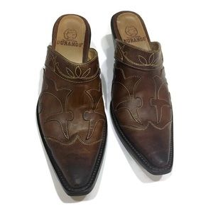 Western style leather clogs with heel